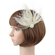 1PC Vintage Women Girls Feather Faux Pearls Mesh Fascinator Beads Hair Pin Prom Headpiece Party Accessory(China)
