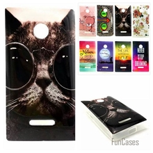 For Microsoft Nokia Lumia 435 N435 Ultra Thin Gel Cartoon Painted Back Covers Cartoon Owl Cat Flower Soft TPU Silicone Case