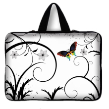 Universal 7 10 12 13 14 15 17 Portable Butterfly Flowers Laptop Bag Carry Case Sleeve Netbook Cover 15.4 17.3 Computer Pouch(China)