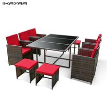 iKayaa 11PCS/10-Seater Rattan Patio Garden Dining Set Furniture Cushioned Outdoor Dining Table Chair Sofa Set FR DE Stock