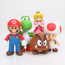 Super Mario Bros Figure Yoshi Mario Luigi Wario Donkey Kong Bowser Koopa Princess Peach Mushroom PVC Figure Toys Model Toys Set(China)
