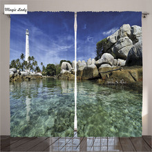 Curtains Panel For Living Room Lighthouse Decor Collection Water Palm Trees Shore Tirquoise Blue Ivory 2 Panels Set 145*265 sm