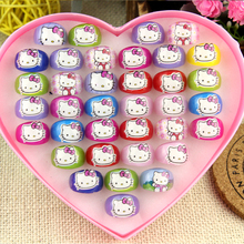 36pcs Hello Kitty Children Ring Animation Cartoon Plastic Resin Plastic Jewelry For Kid Boys Girls Wholesale gift Jewelry Lots(China)