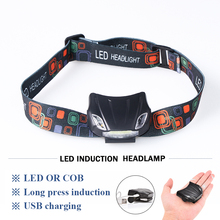 Waterproof Clip hat light fishing headlight IR Sensor Headlamp black white LED / COB usb head lamp rechargeable Built-in battery