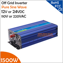 1500W Off Grid Inverter, 12V/24VDC to 110V/220VAC Pure Sine Wave Single Phase Solar or Wind Power Inverter, Surge Power 3000W