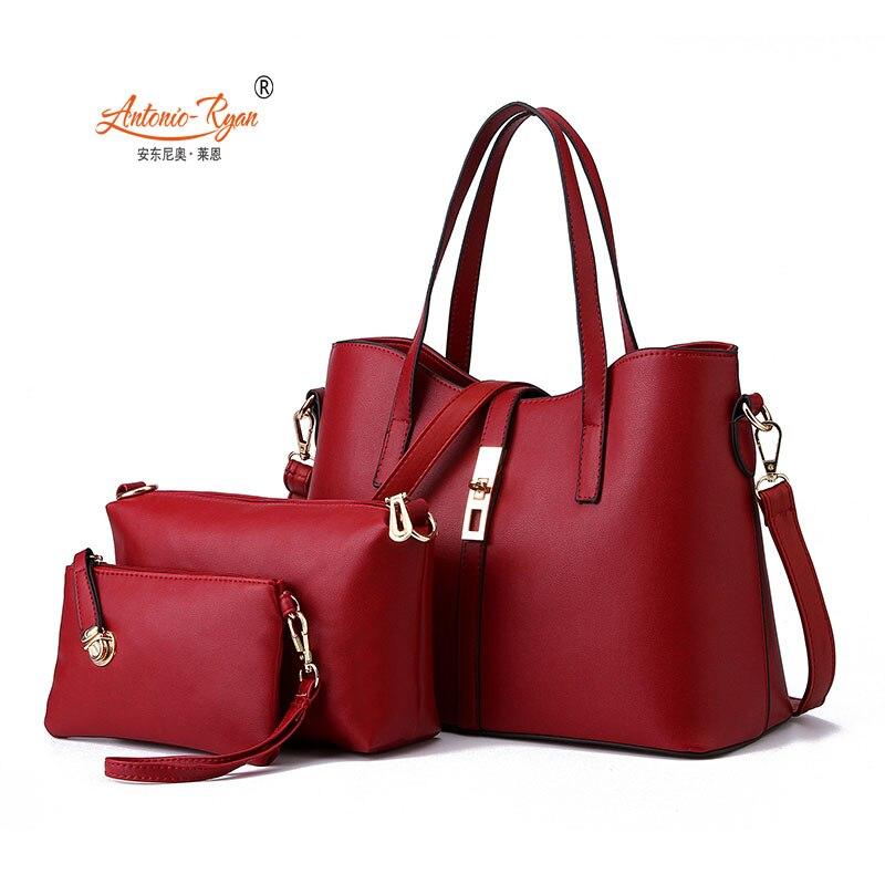 Antonio Ryan Brand Fashion women Crossbody bags three pieces set handbag female messenger bag lady handbags woman shoulder bags<br><br>Aliexpress