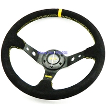 350mm OMP Steering Wheel Suede Racing Car OMP Wheels Drifting Racing Auto Car Wheels Suede Leather PVC