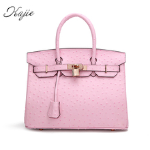 Kajie Fashion Ostrich Pattern Shoulder Genuine Leather Luxury Handbags High Quality Women Ladies Bags Designer Bolsos Sac Femme