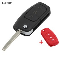 KEYYOU Folding Key Cover Remote Case Fob for Ford Fiesta Focus 2 Ecosport Kuga Escape 3 Button With Silicone Key Shell Cover Red