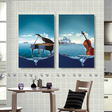 2 Pieces Wall Art Poster Canvas Painting Piano &Violin  Modern Fashion Picture Print on Canvas Oil Paintings Home Decor