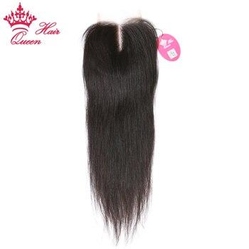 Королева волос бразильский виргинский закрытие волос 3.5x4 средней части прямой Natural Цвет отбеленные узлы швейцарский шнурок Бесплатная дост...