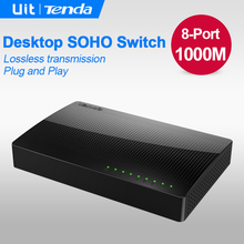 Tenda SG108 8 Port Gigabit Desktop Ethernet Switch, 10/100/1000Mbps Fast Ethernet Switcher, Lan Hub, Full/Half duplex Exchange(China)
