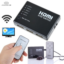 buy 10 get 1 free ACEHE Mini 5 Port 1080P Video HDMI Switch 5-in-1 Switcher HDMI Splitter with IR Remote for HDTV PS3 DVD