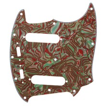Yibuy 20 Hole Brown Shell Green Color 4ply Guitar Pickguard for Mustang Guitar