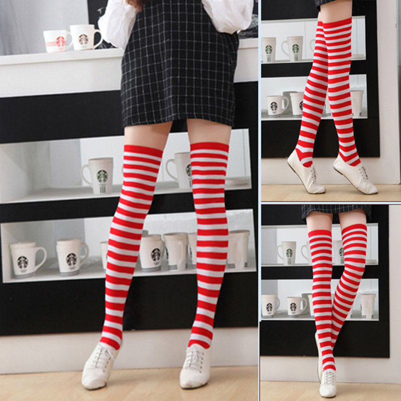 Polyester Fashion Stripe Beauty Tights, Stockings, Multicolor Knee-high Women Sweet Cute Girls Stockings 2