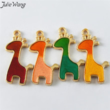 Buy Julie Wang 10PCS Colorful Stunning Kawaii Giraffe Shape 4 Color Optional Enamel Alloy Charms Making Keychain Women Jewelry for $1.40 in AliExpress store
