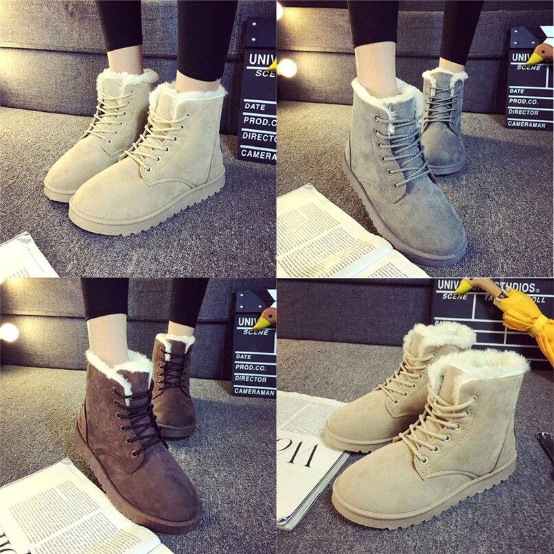 Jasmine Fashion Ladies Women Boots Flat Ankle Lace Up Fur Lined Winter Warm Snow Shoes Dec8<br><br>Aliexpress