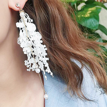 Vintage Lace Earrings Simulated Pearls Tassel Flowers White Black New Long Party Fringe Dangle Earrings for Women EB62214