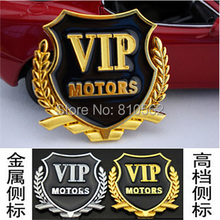 2Pcs/Lot VIP car stickers car window door car flag stick side mark of auto parts, metal wheat VIP car stickers, free shipping