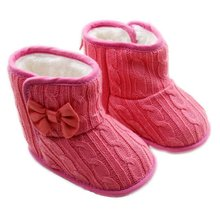 5 Color Baby Knited Faux Fleece Crib Snow Boots Kid Bowknot Woolen Shoes