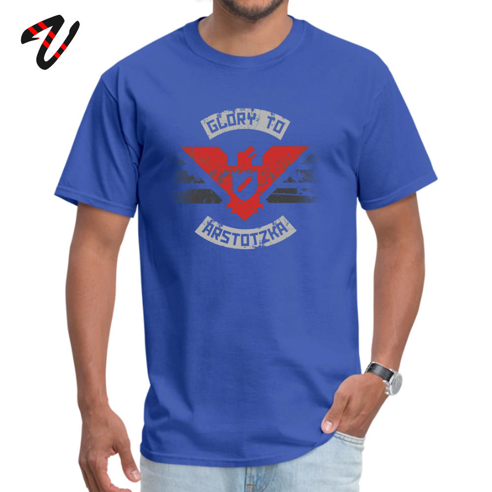 100% Cotton Mens Short Sleeve Glory to Arstotzka Top T-shirts Summer Tops & Tees Special Cool O Neck T Shirt Drop Shipping Glory to Arstotzka -14134 blue