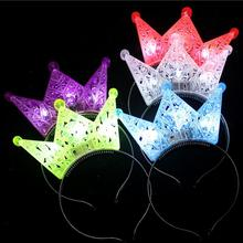 2017 New Blinking Hollow Crown Headband LED Flashing Adults Children Girls Headwear Hair Accessories Birthday Party Decoration(China)