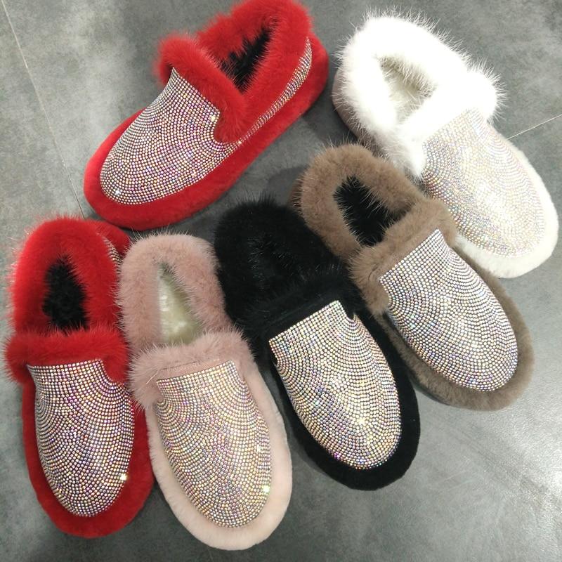 Silver Fox Hair Rhinestone Snow Boots Women Fur Plush Warm 2018 Winter Ankle Shiny Fashion Flats Fluffy Casual Ladies Shoes Hot