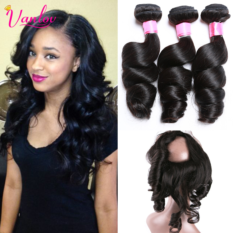 Brazilian Loose Wave With Closure 3 Bundles Loose Wave 360 Lace Frontal With Bundle Curly Weave Human Hair 360 Frontal With Hair<br><br>Aliexpress