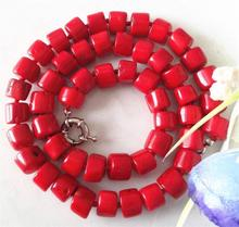 "Hot sell Noble- FREE SHIPPING>>>@@ Charming! Natural Red Sea Coral Necklace 18""AA+001(China)"