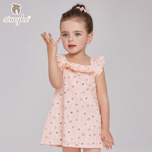 Girl Summer Dress Floral Printing Toddler Dress Girls Candy Color Dresses 2017 Kids Dress For Baby Girl Childrens' Clothes D8195