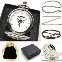 New Silver Fullmetal Alchemist Quartz Pocket Watch Necklace Leather Chain Box Bag Relogio De Bolso P421CKWB