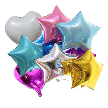 12 Pieces 18 Inches Star Foil Balloons Baby Shower Globos Heart Helium Balloons Birthday 1st Party Supplies Wedding Decorations(China)