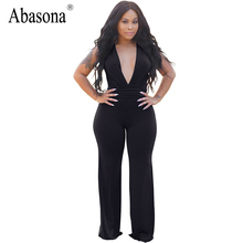 Abasona Summer women rompers black bodycon jumpsuit Deep v neck wine red elegant overalls sexy club bodysuit woman hot sexi pic