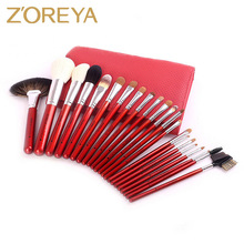 ZOREYA Brand Goat Hair Makeup Brushes Professional set High Quality Make Up Brush Fan Highlighter Powder Brush as Gift for Woman(China)