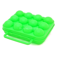 1pcs Outdoor Kitchen Folding Plastic Carry 12 Eggs Box Case Storage Eggs Container 5Colors sky blue/pink/orange/green/blue JDH