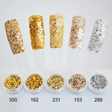 10ml Nail Art Tinsel Glitter Powder Nails Gold Paillettes Sequins Set Glitter Polish Nail Powder Spangles for Manicure SF0008(China)
