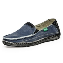 2016 Fashion Denim Men's Loafers Driving Shoes Low price Mens Breathable Jeans Canvas Slip On Flats Loafer Male Walking X072603