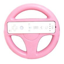 New Fashion Steering Wheel For Nintendo Wii Mario Kart Remote Controller Racing Games Pink(China)