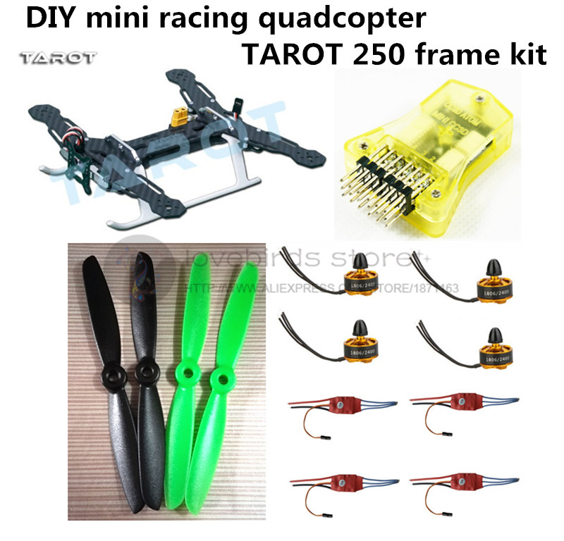 DIY FPV mini drone race quadcopter Tarot 250 frame + mini CC3D + 1806 2400KV motor + Simon K 12A ESC + 5045 ABS propellers<br><br>Aliexpress