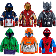 Jungen Hoodies Avengers Marvel Superhero Iron Man Thor Hulk Captain America Spiderman Sweatshirt für Jungen Kid Cartoon Jacke 2- 7 t(China)