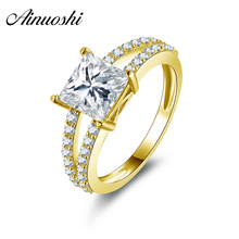 AINUOSHI 10k Solid Yellow Gold Engagement Ring 1.6 Carat Princess Cut Simulated Diamond Pure Gold Jewellry Vintage Wedding Rings(China)