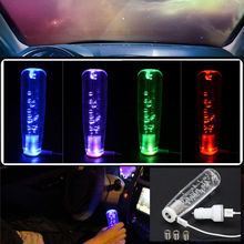 15CM Gear Shift Knob Manual Shifter Stick LED Light Color Changing Crystal Bubble With 2 USB Interface Charger And Data Wire