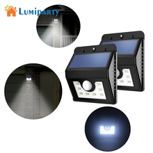 Lumiparty Solar Lights LED Motion Sensor Wall Light Bright Weatherproof Wireless Security Outdoor Light with Motion Activated