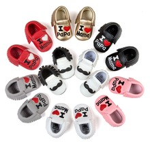 ROMIRUS PU Leather Newborn Baby Infant Toddler I Love Mama Papa Moccasins Soft Moccs Shoes Funny Mustache Fringe Footwear Boots