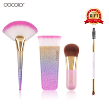 Buy 3 get 1 gift Docolor Foundation Brush Powder Brush Fan Brushes Gift is Eyebrow Brush Beauty Essential Makeup Tools(China)