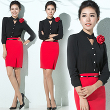 High quality spring&autumn OL women clothes set fashion airline stewardess beautician work wear 2 piece set women shirt+skirt(China)