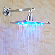 "Contemporary Bathroom Shower Head 8"" LED Rainfall Shower Head with Shower Arm Chrome Polished(China)"