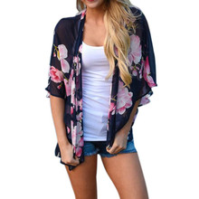 Women Chiffon Floral Print Beach Chiffon Loose Shawl Kimono zip-up Cover blusas Beach Regular female Hoodies Sweatshirts(China)