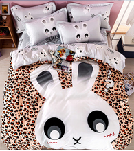 100% cotton rabbit comforter quilt bedding sets queen size cartoon leopard print duvet cover cute bed sheet linen bedspreads