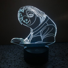crazy animal City 7 colors changing 3D Touch Bulbing Light Sloth illusion USB LED lamp creative action figure as gift IY803433